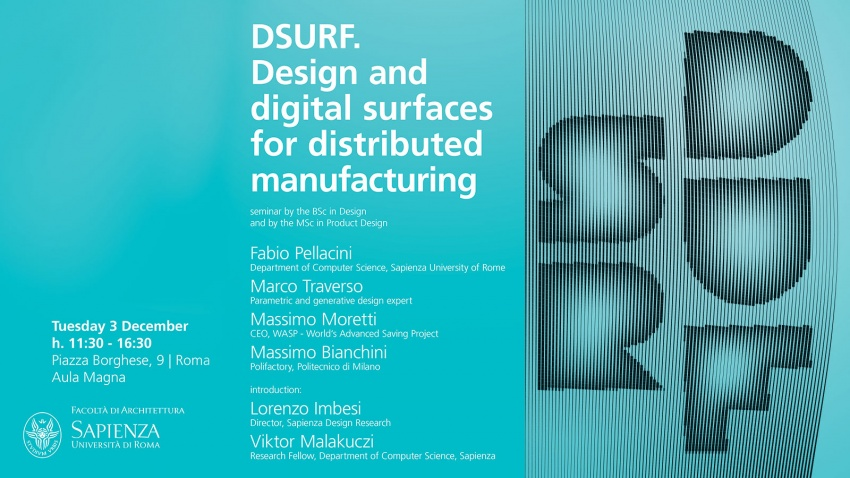 DSURF Seminar Design and Digital Surfaces for Distributed Manufacturing